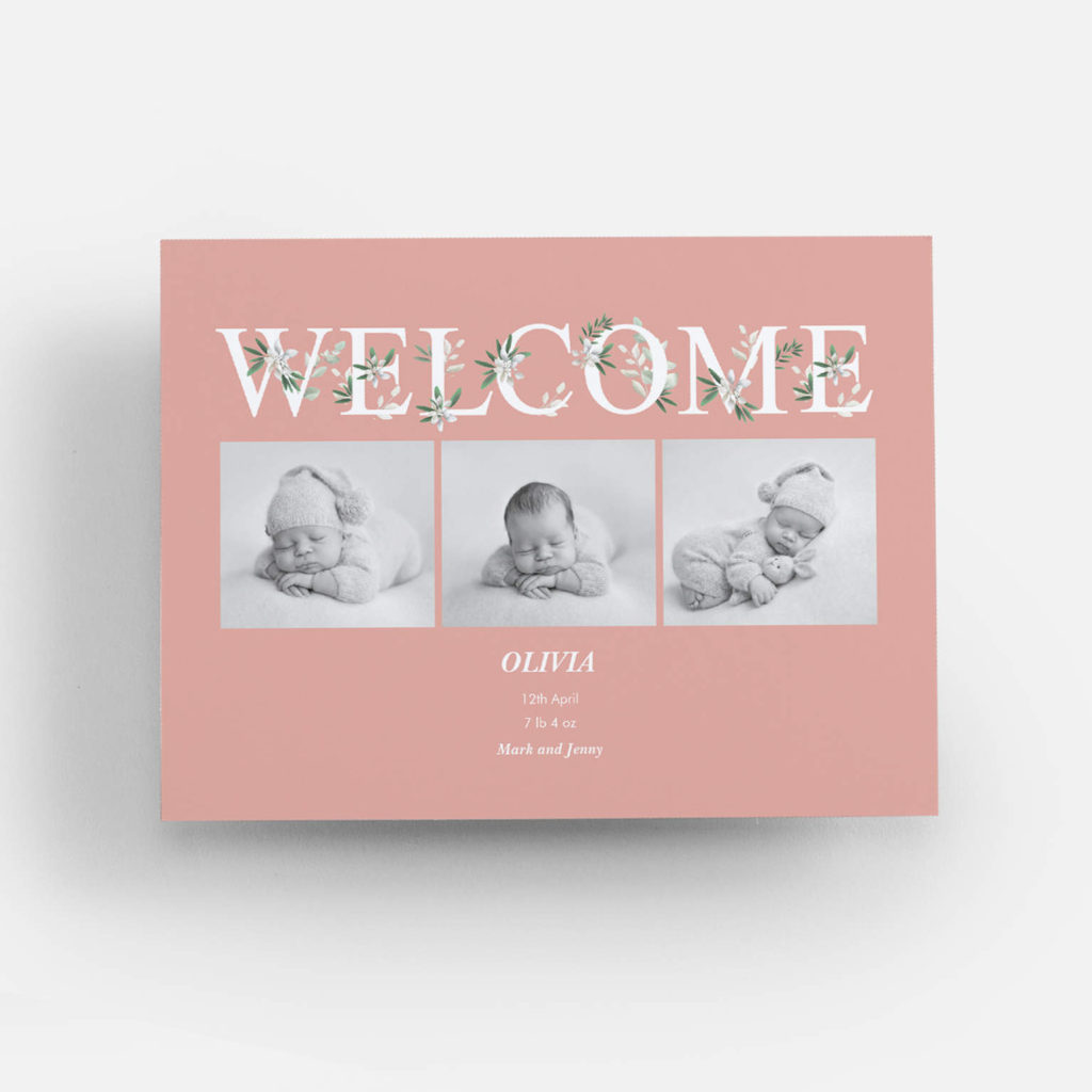pink baby announcement card with WELCOME and 3 photos of baby
