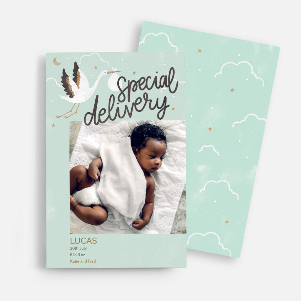 """""""special delivery"""" baby announcement card with mint green background, stork design and baby photo"""
