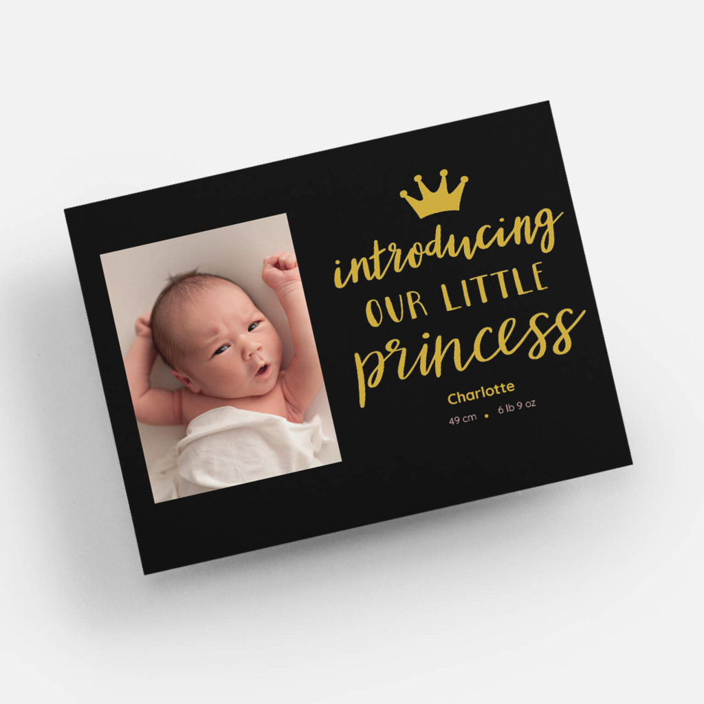 """""""introducing our little princess"""" birth announcement card"""