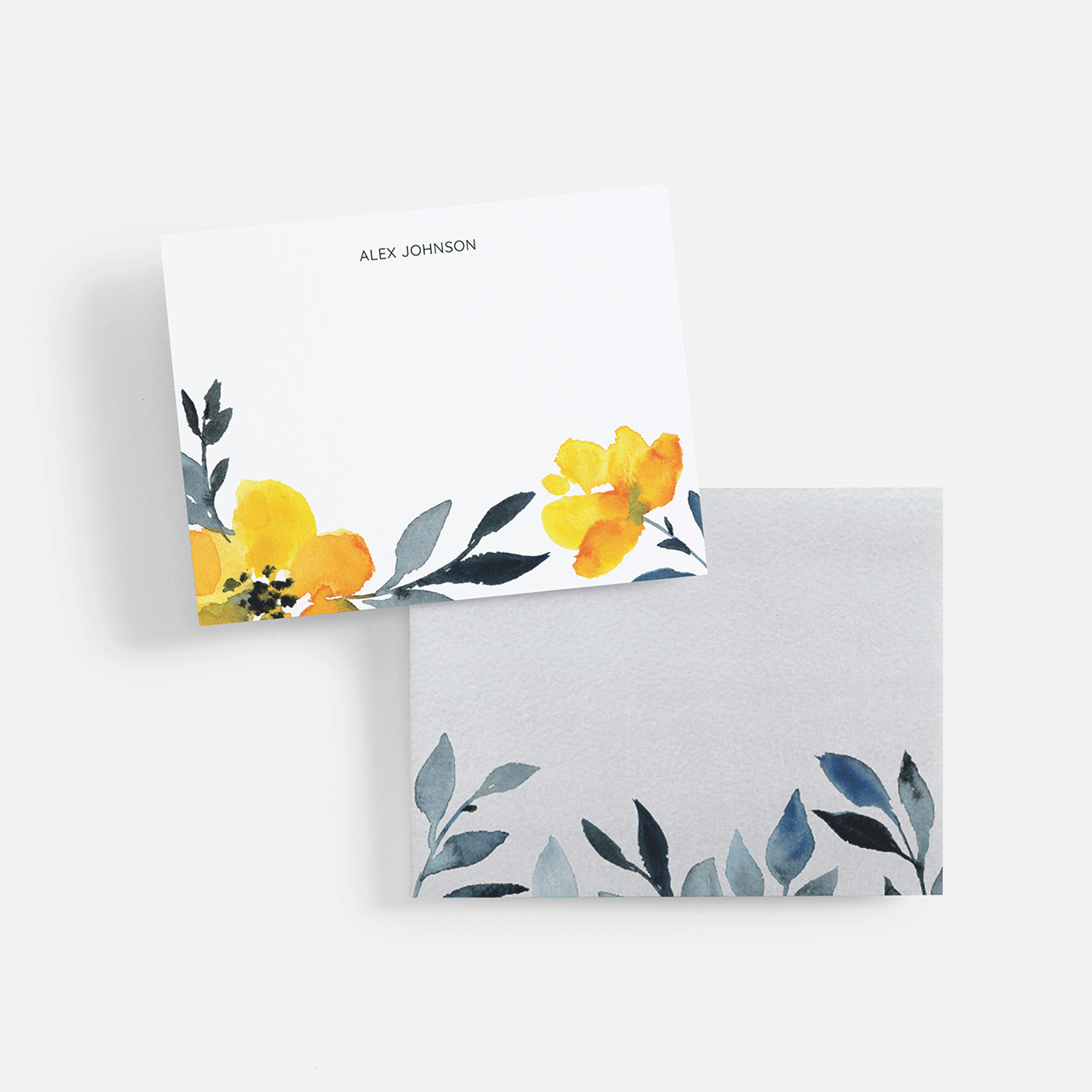 note cards with yellow flower design