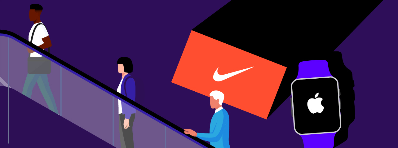 nike logo and apple watch with apple logo