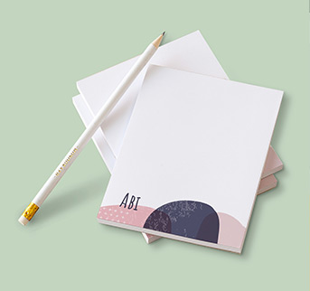 notepad pink and blue pattern and personalised pencil